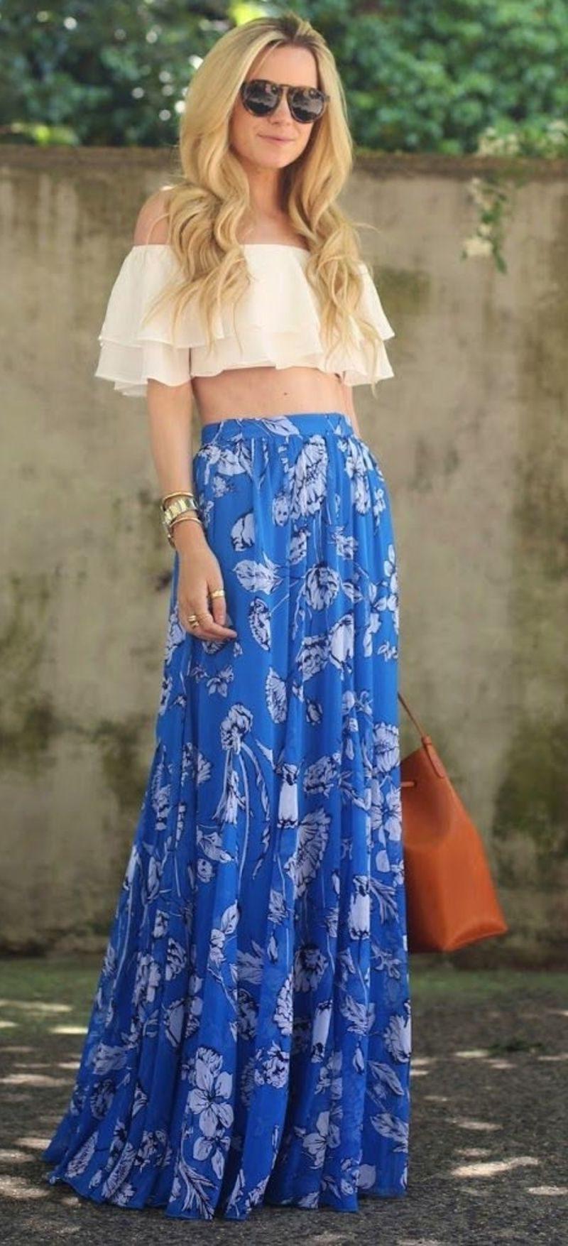 30 Summer Crop Top And Maxi Skirt Combos 2019