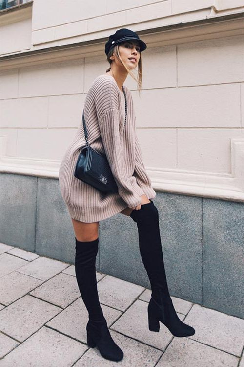 How To Wear Sweater Dresses On The Streets Best Outfit Ideas (23)