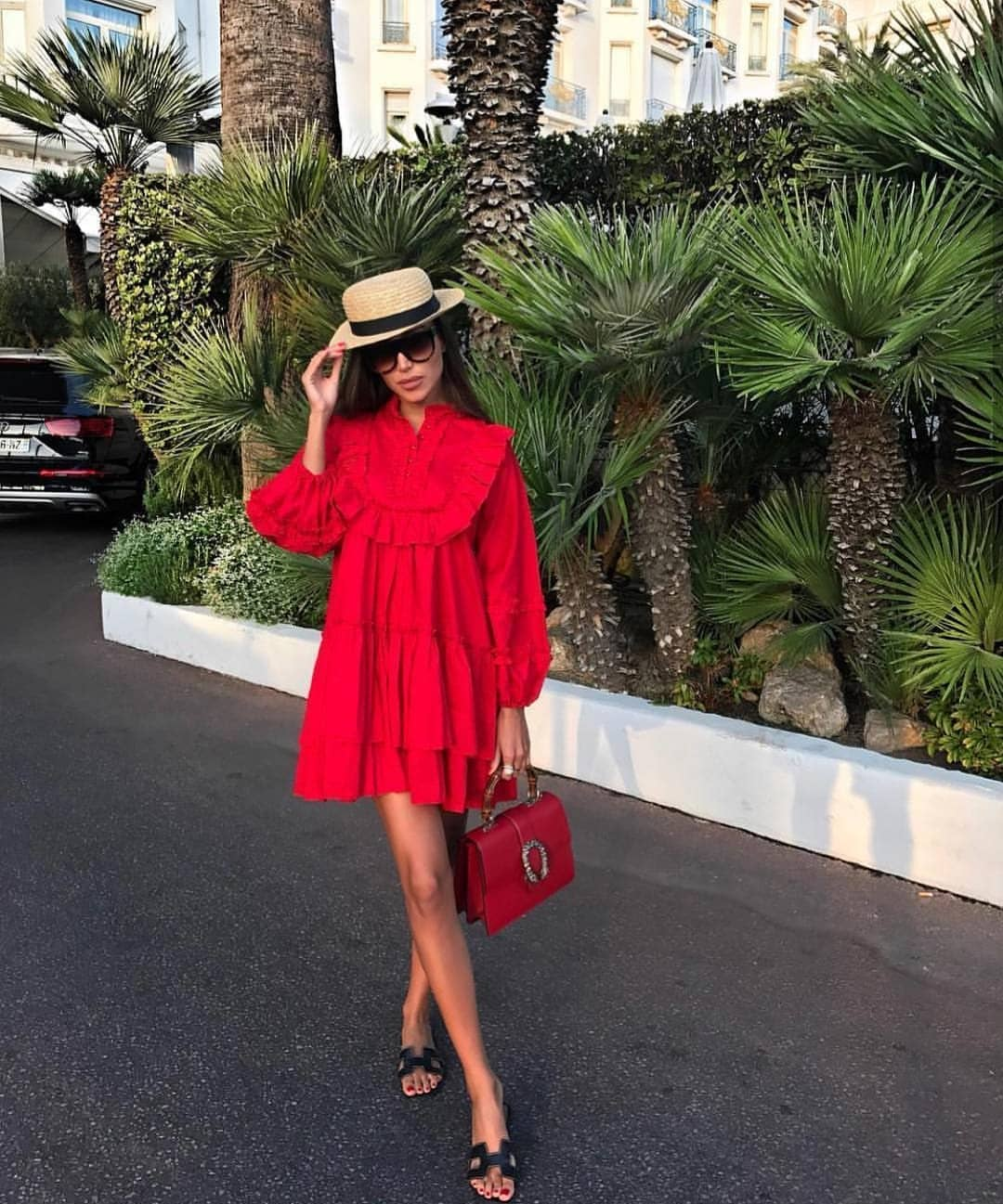 Ruffled Peasant Red Dress For Summer 2021