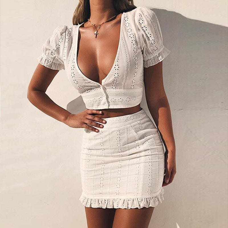 How To Wear Perforated White Two Piece Dress This Summer 2021