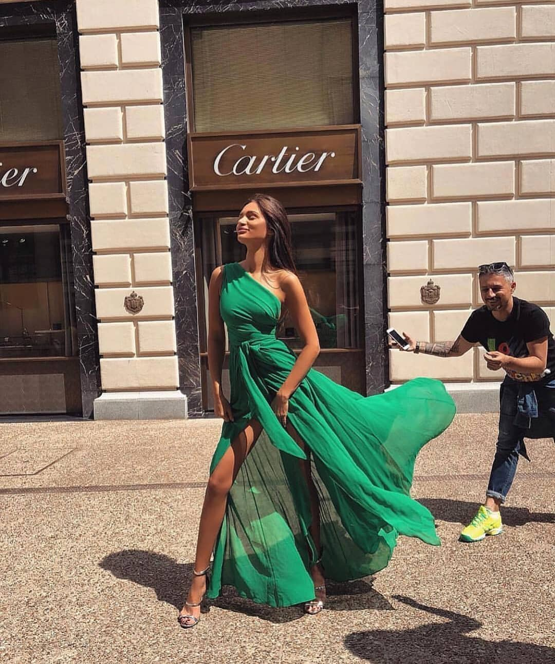 One Shoulder Gathered Maxi Dress In Rich Green Color 2020