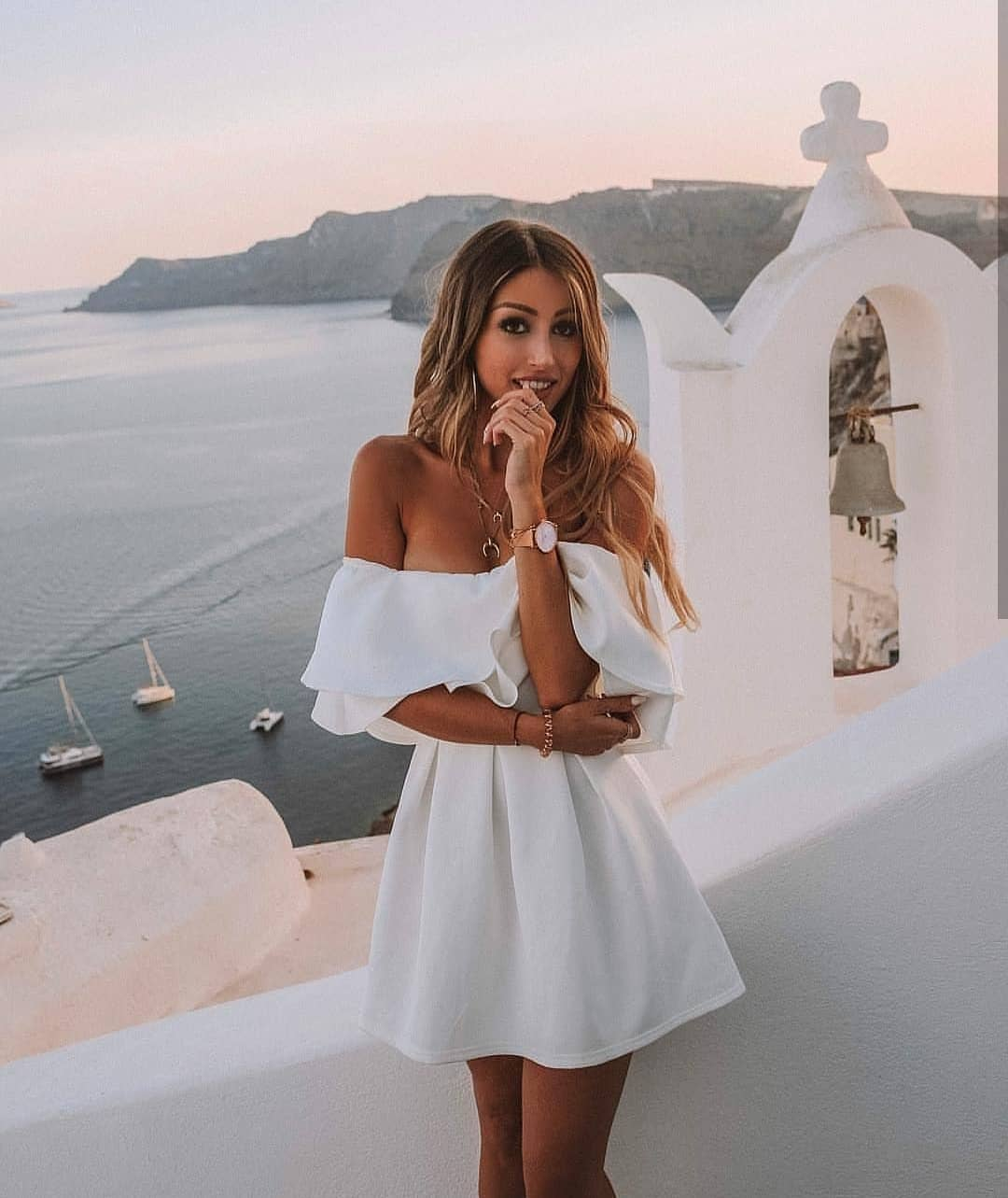 Can You Wear White Off-Shoulder Dress In Santorini This Summer 2019