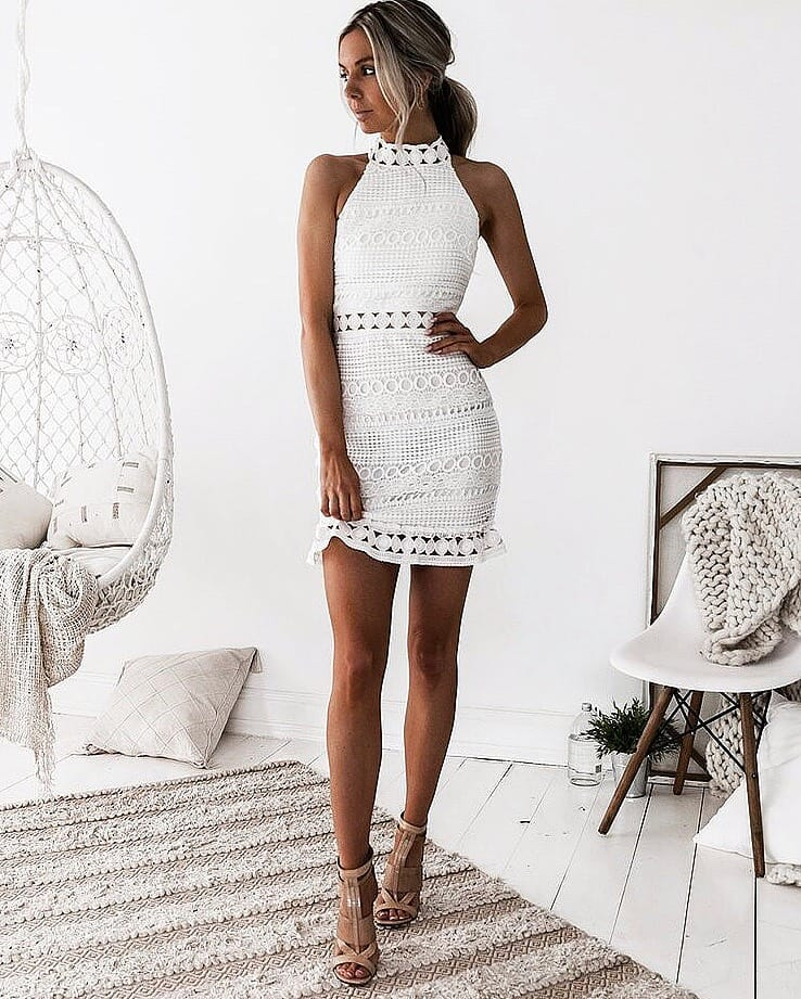 How To Wear Boho White Crochet Dress With High Neck This Summer 2019