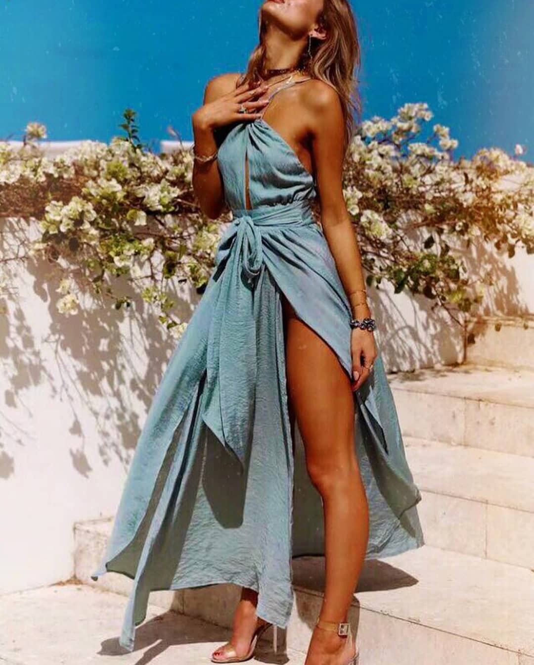 Boho Greek Style Turquoise Dress For Summer 2020