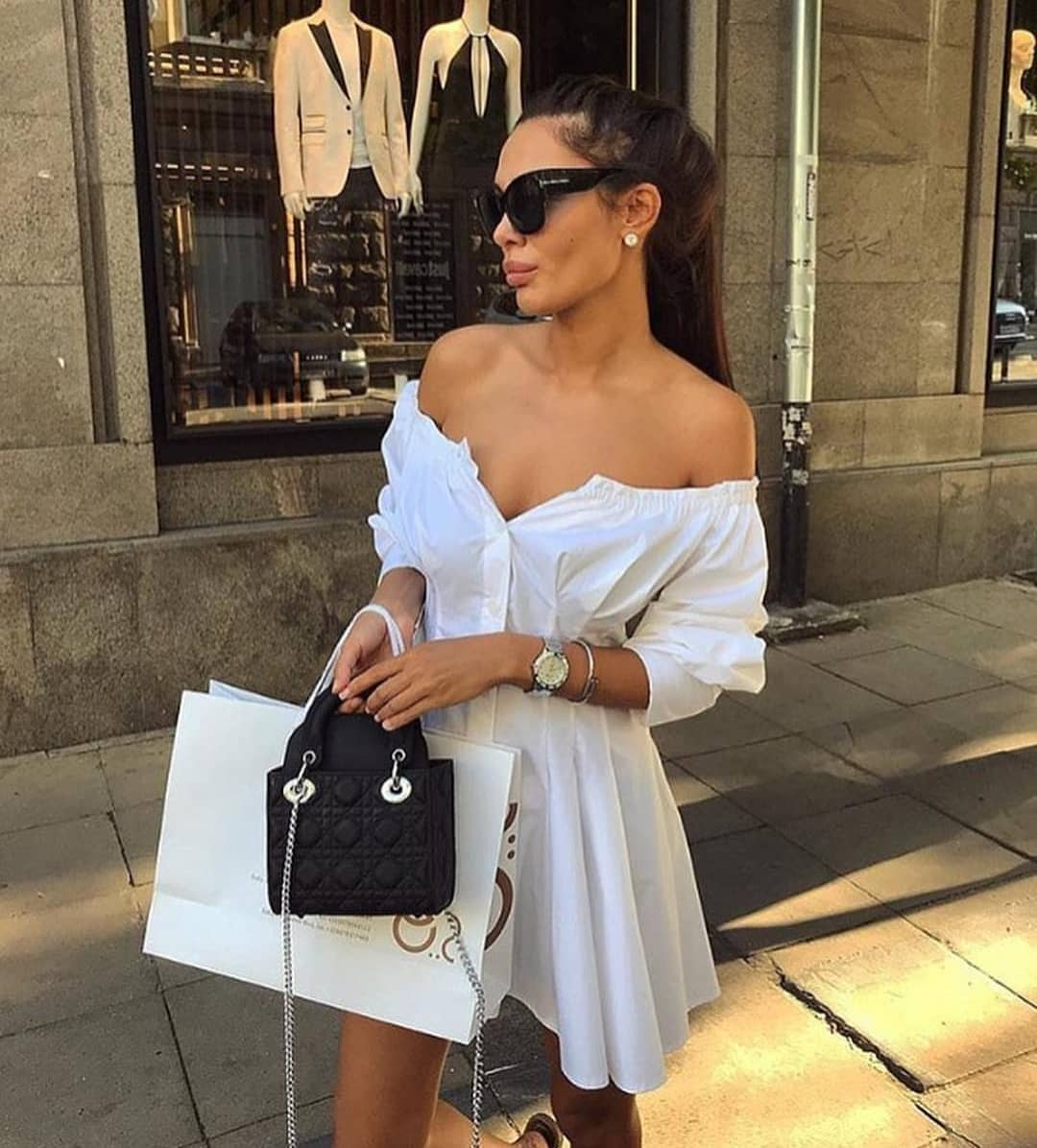 Italian Women Style: Off Shoulder ShirtDress In White For Summer 2019