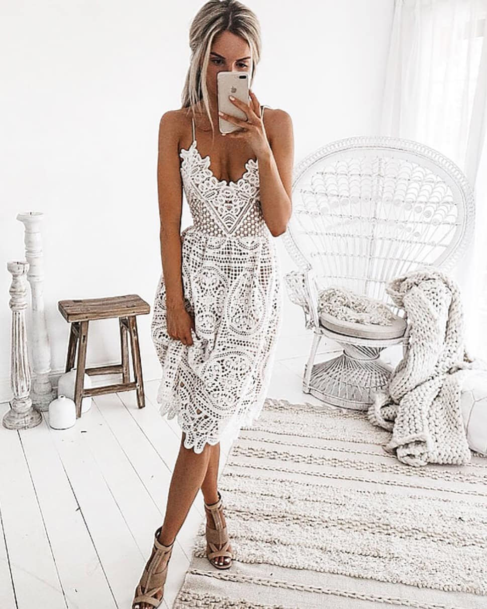 White Crochet Dress With Spaghetti Straps For Summer 2019