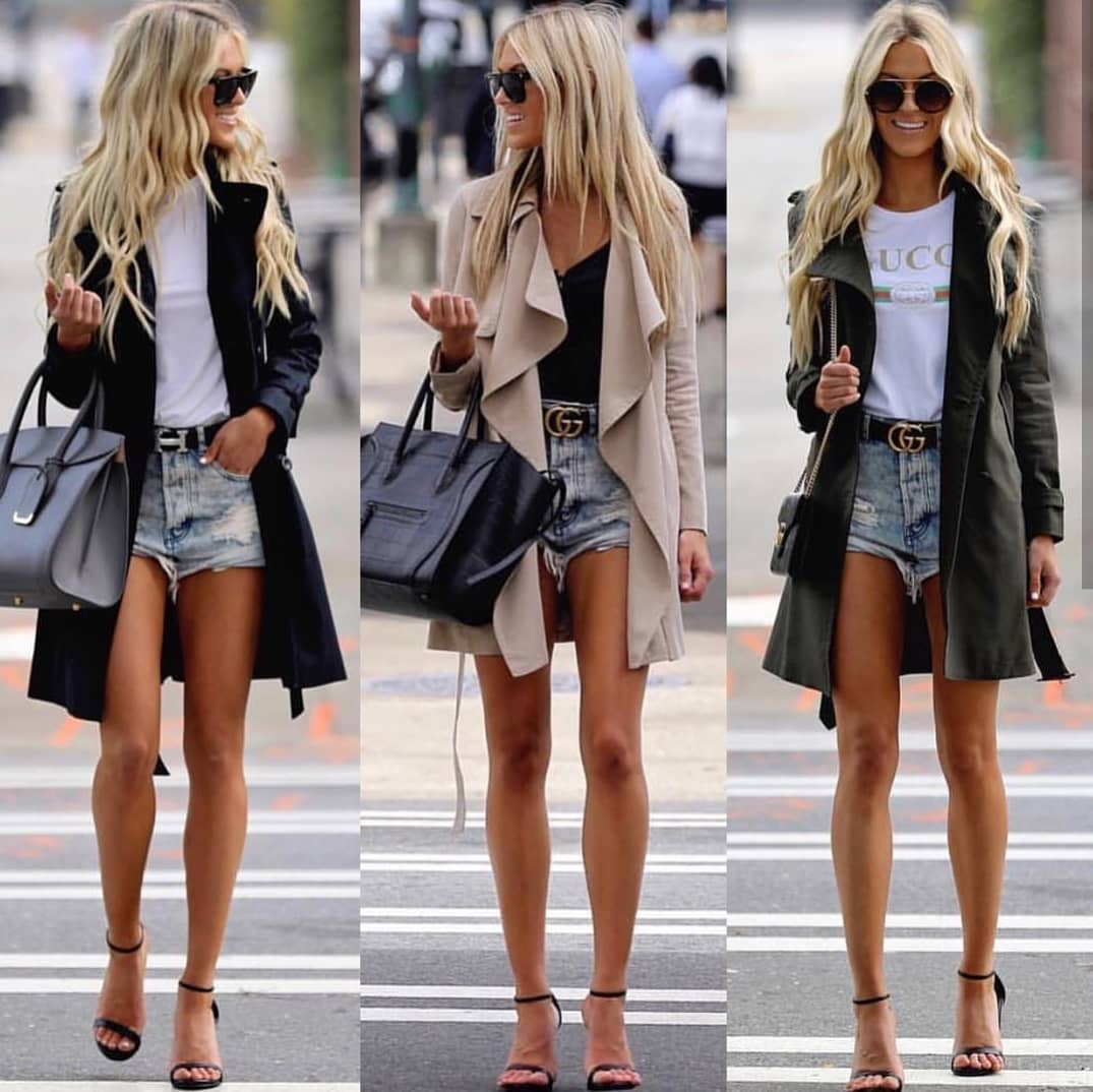 How To Wear Denim Shorts With Trench Coats This Spring 2019