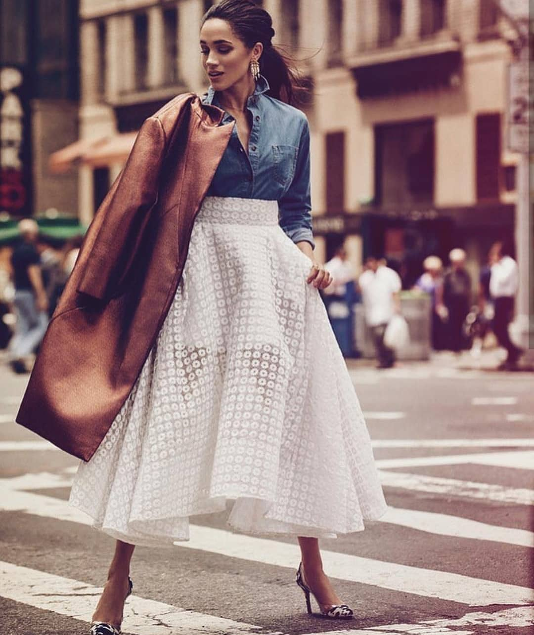 Can You Wear White Midi Skirt With Chambray Shirt This Spring 2019