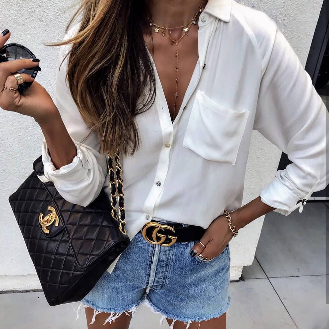 How To Wear Relaxed White Silk Shirt In Casual Way This Summer 2020