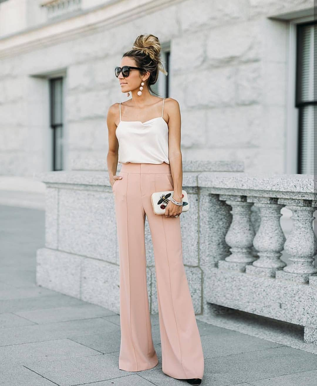 How To Wear Light Pink Wide Pants For Summer 2020