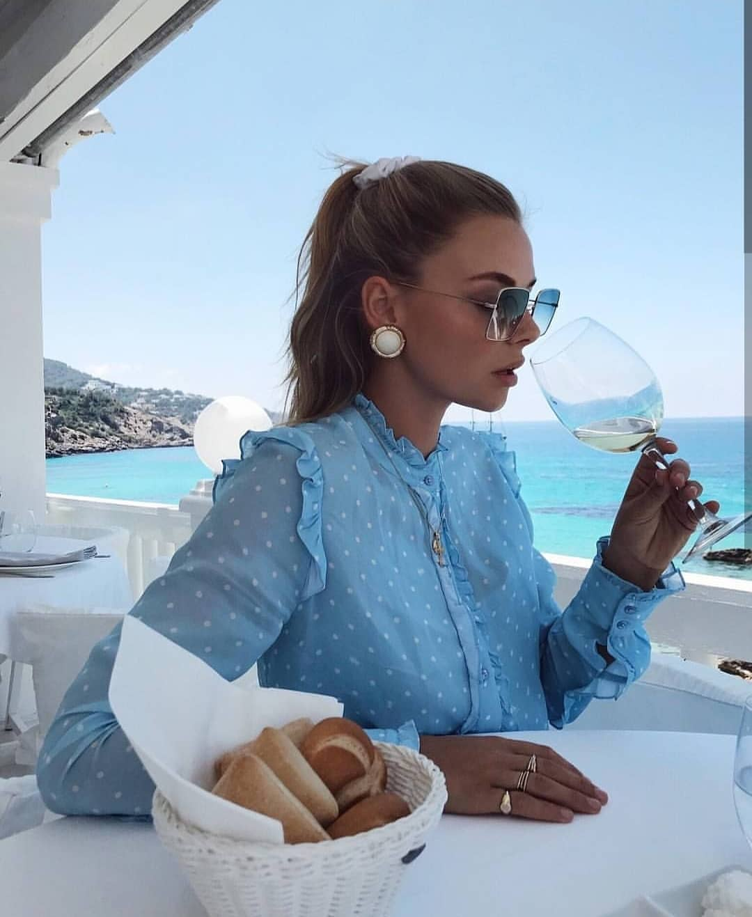 Pastel Blue Blouse In White Dots For Summer Vacation 2019