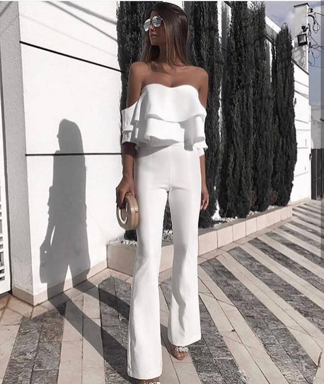Off Shoulder Strapless Jumpsuit In White For Summer 2020
