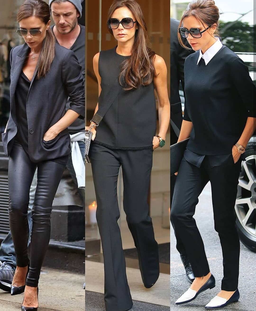 Victoria Beckham Wearing All Black Outfit Ideas 2019