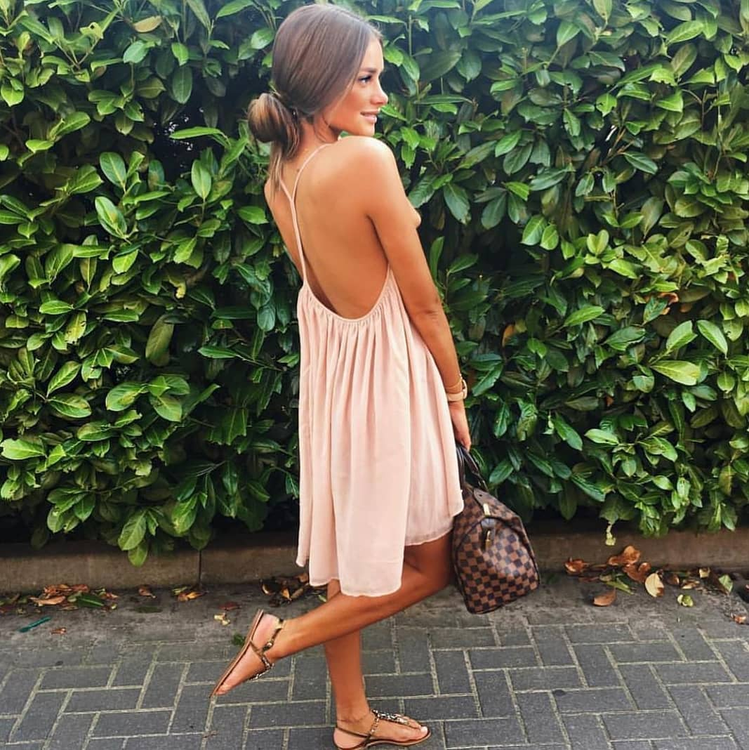 Boho Style Blush Dress With Spaghetti Straps For Summer 2020