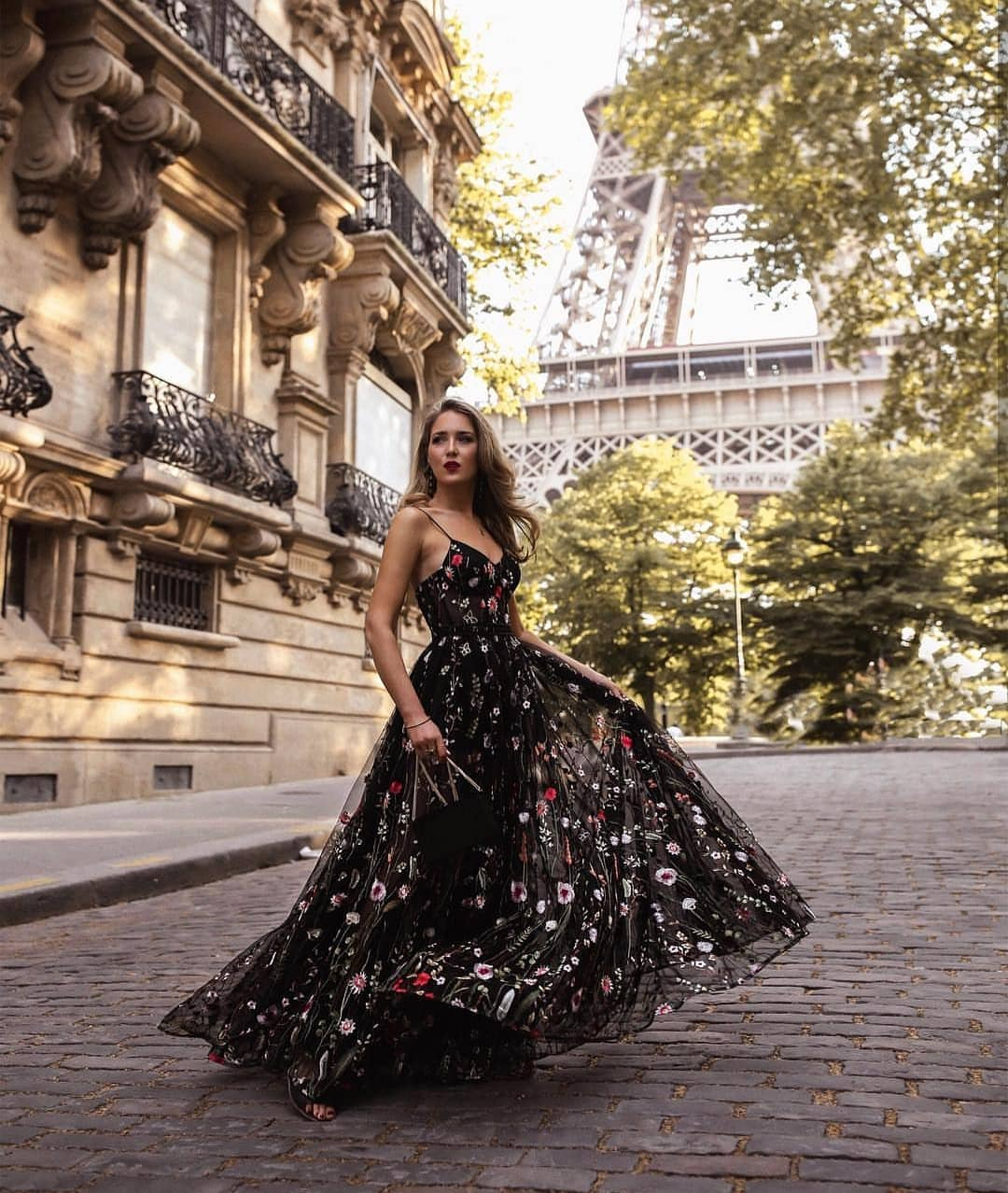 Black Floral Maxi Gown With Spaghetti Straps For Summer Paris 2019