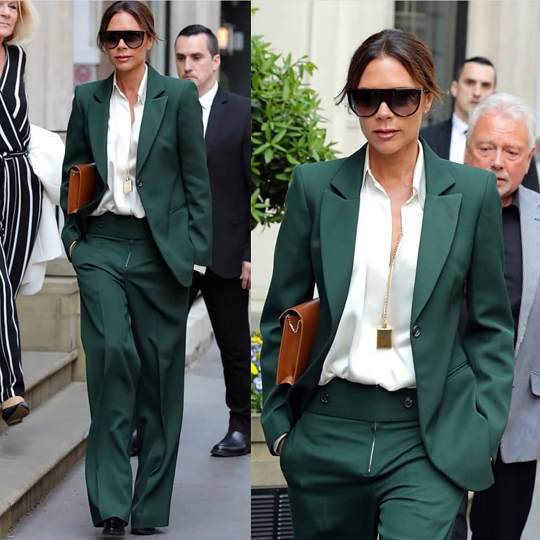 Victoria Beckham Wearing Flat Brow Sunglasses With Green Pantsuit 2019