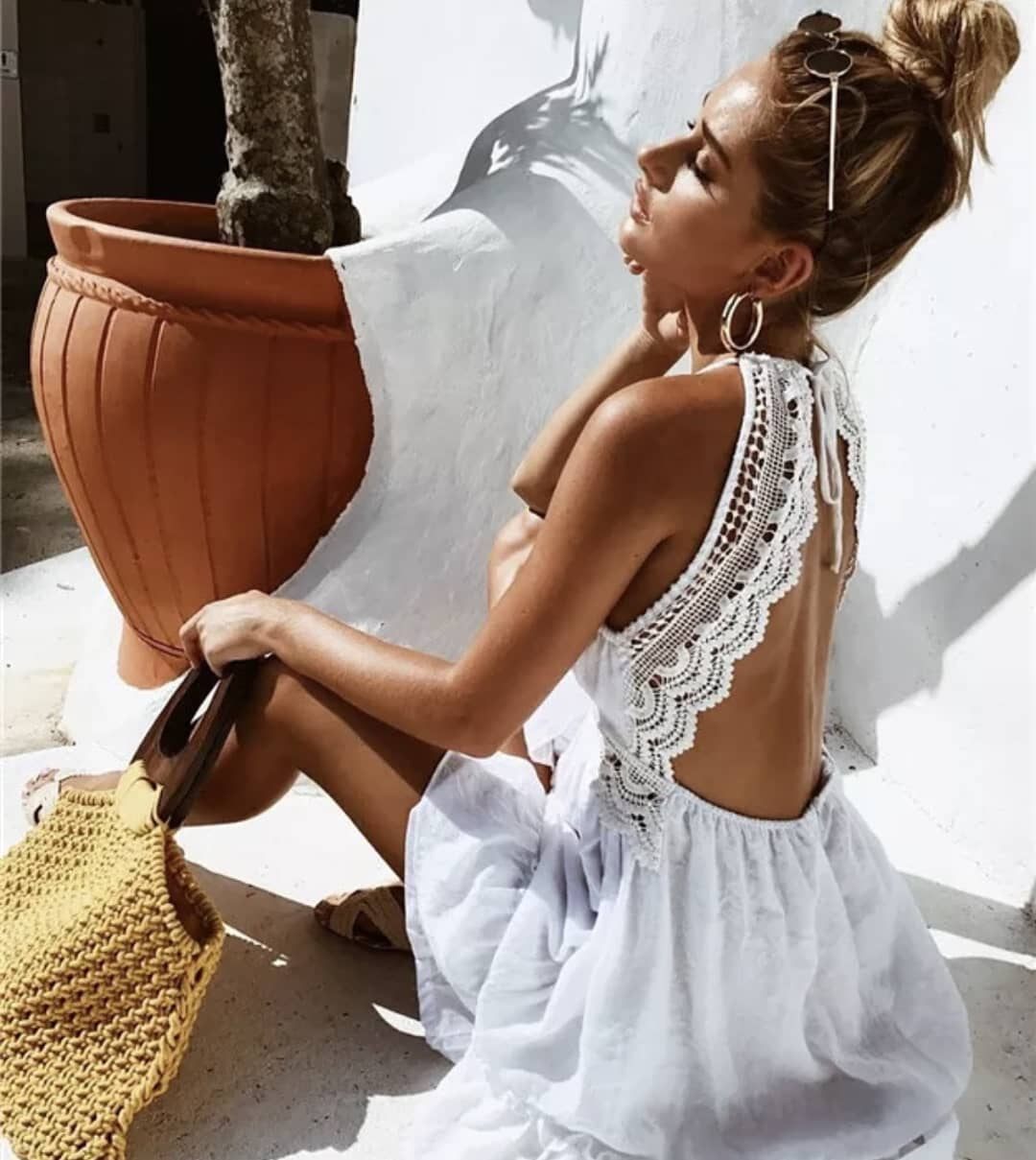 Open Back White Dress Embroidered With Lace For Summer 2019
