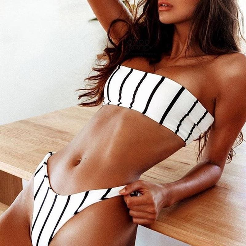 White Bandeau Bikini Set In Black Pinstripe For Summer 2019