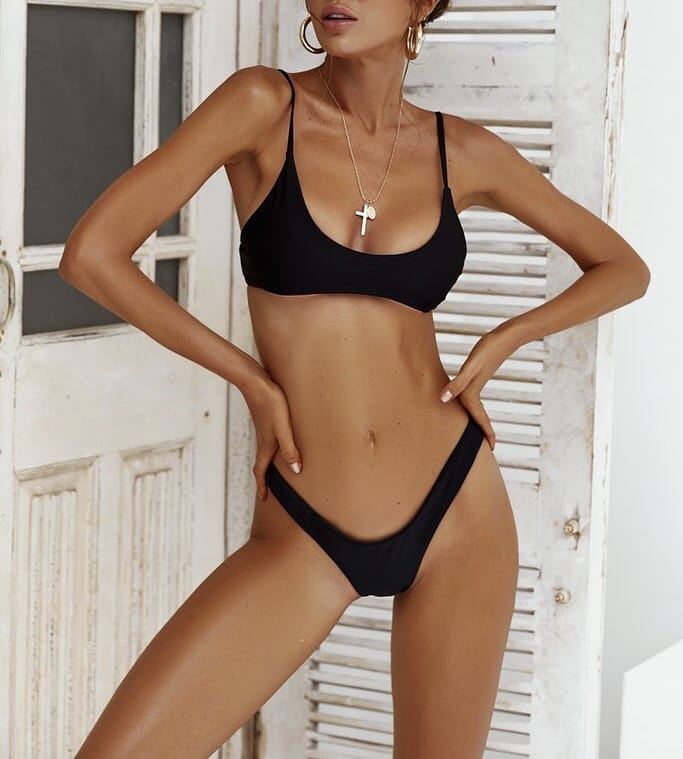Black Bikini Set With Gold Jewelry Summer Basics 2019