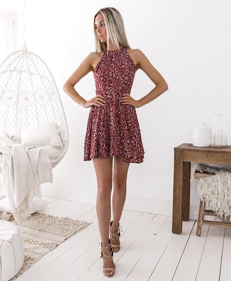 High Neck Maroon Dress In White Leaves Print For Summer 2020