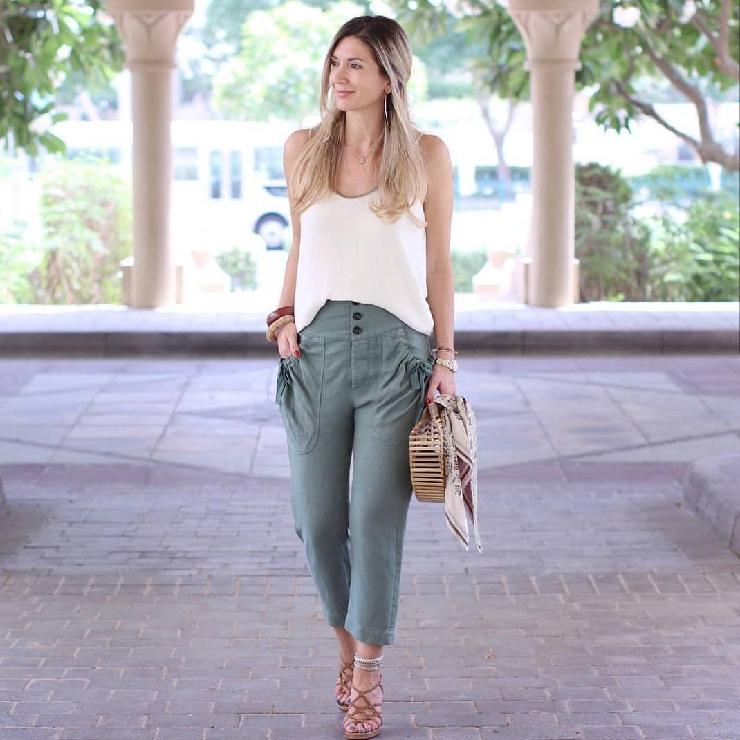 How To Wear Khaki Green Ankle Pants During Summer Season 2019
