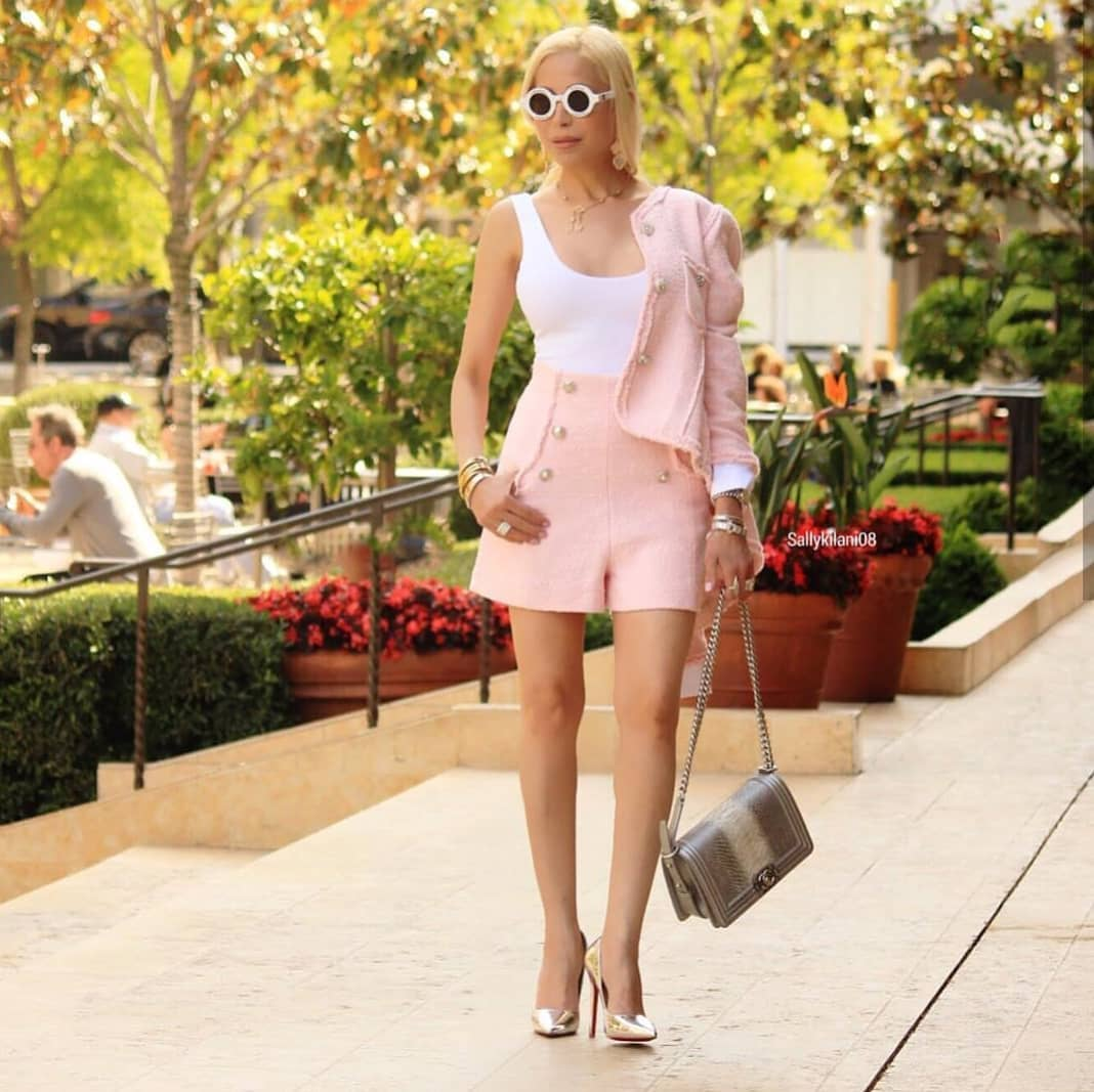 Light Pink Tweed Shorts Suit For Summer 2021