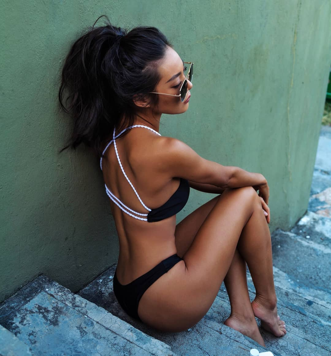 Black Bikini With White Knitted Straps For Summer 2020