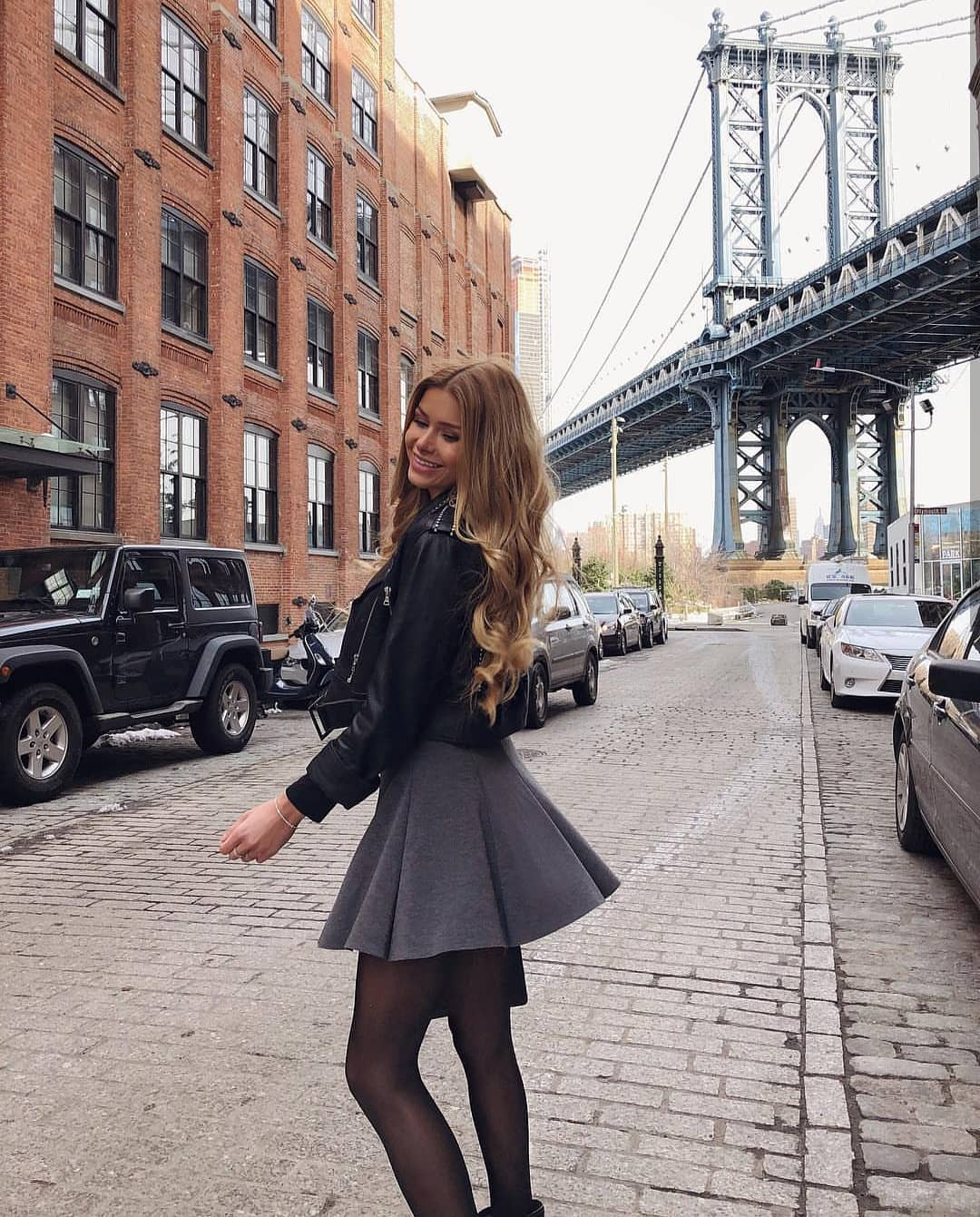 How To Wear Grey Flared Skirt With Black Leather Jacket This Spring 2019