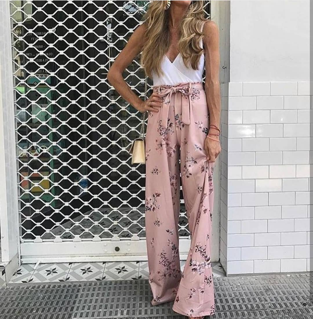 How To Style Blush Belted Palazzo Pants In Floral Print This Summer 2019