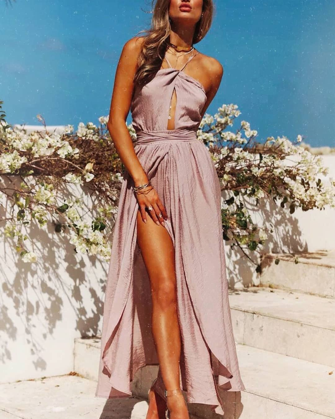 Pastel Purple Greek Style Dress For Summer Vacation 2019