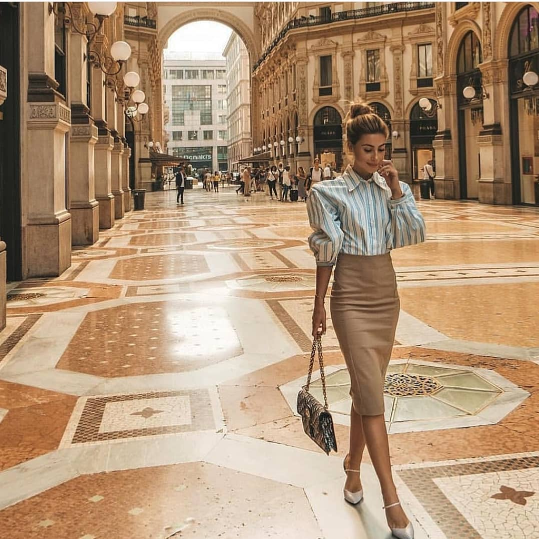 Blouse With Puff Sleeves And Midi Pencil Skirt For Spring Business Ladies 2020
