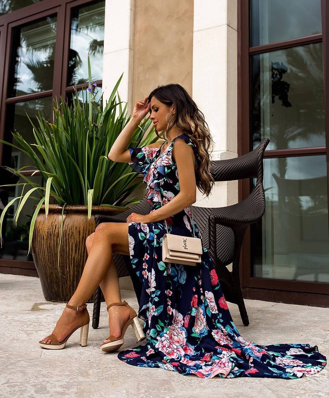 Maxi Gown In Navy Floral For Summer 2019