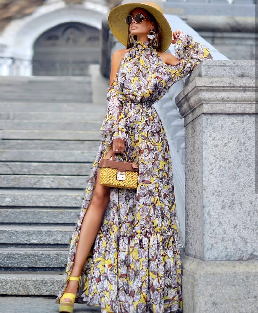 How To Wear High-Neck Cold-Shoulder Maxi Gown In Floral Print This Summer 2019