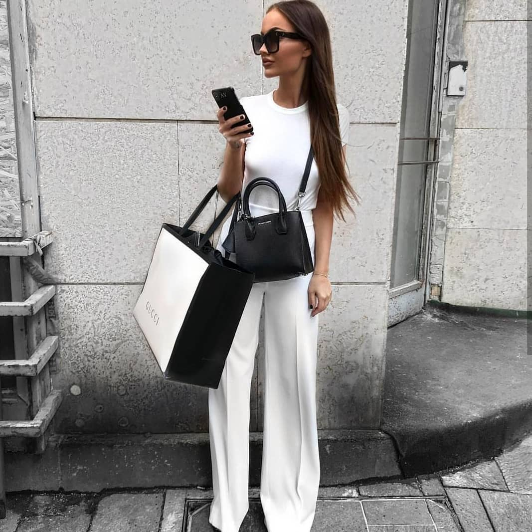 All White Outfit Idea With Black Accessories For Summer 2019