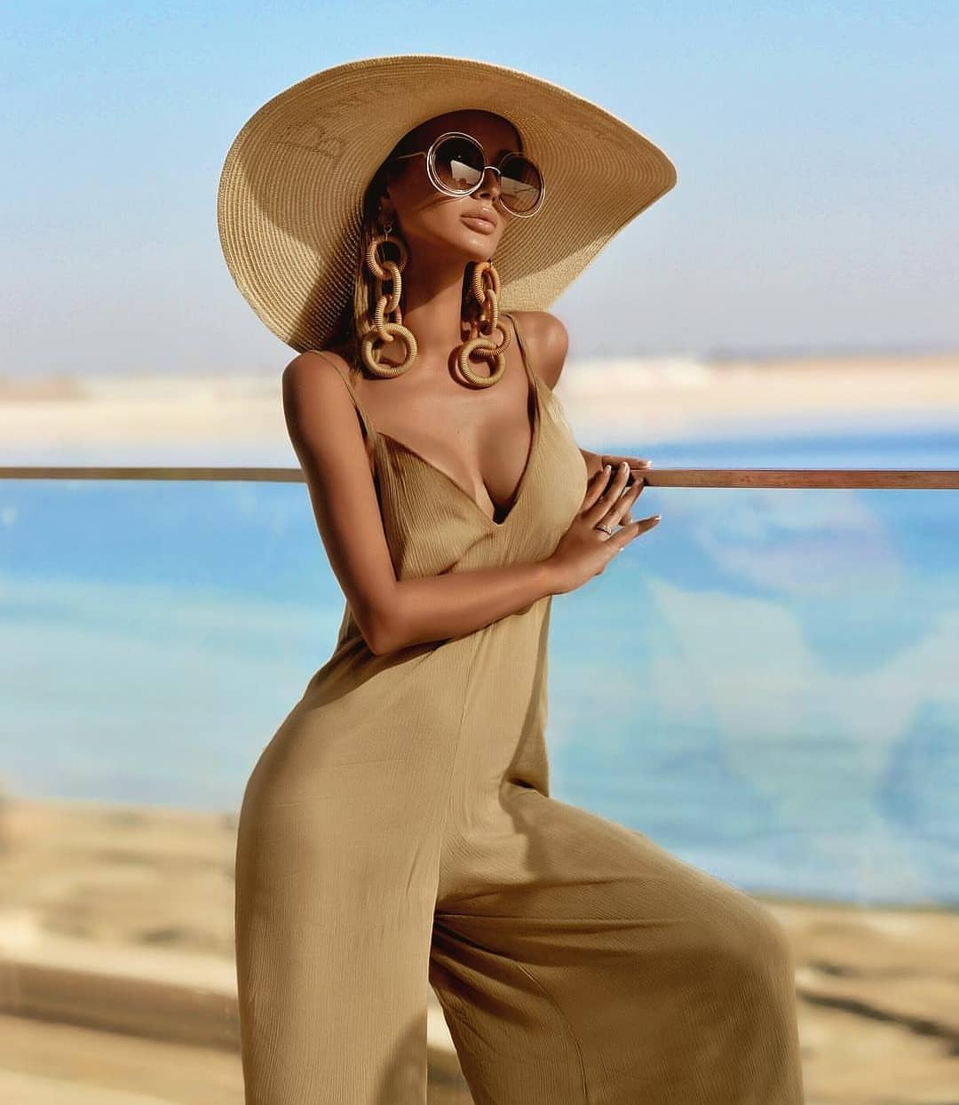 Wide Pants Safari Beige Jumpsuit For Summer Getaways 2019