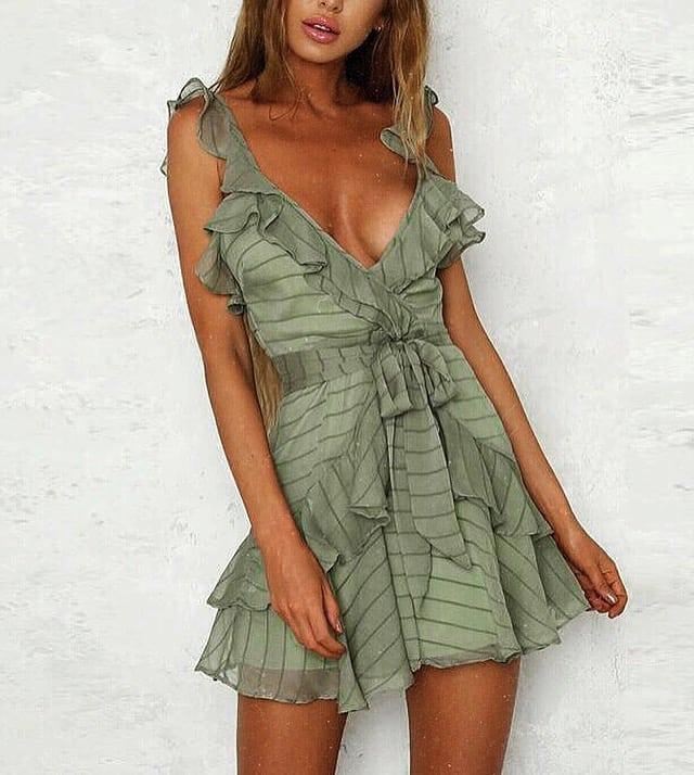 Khaki Green Ruffled Dress For Summer 2019