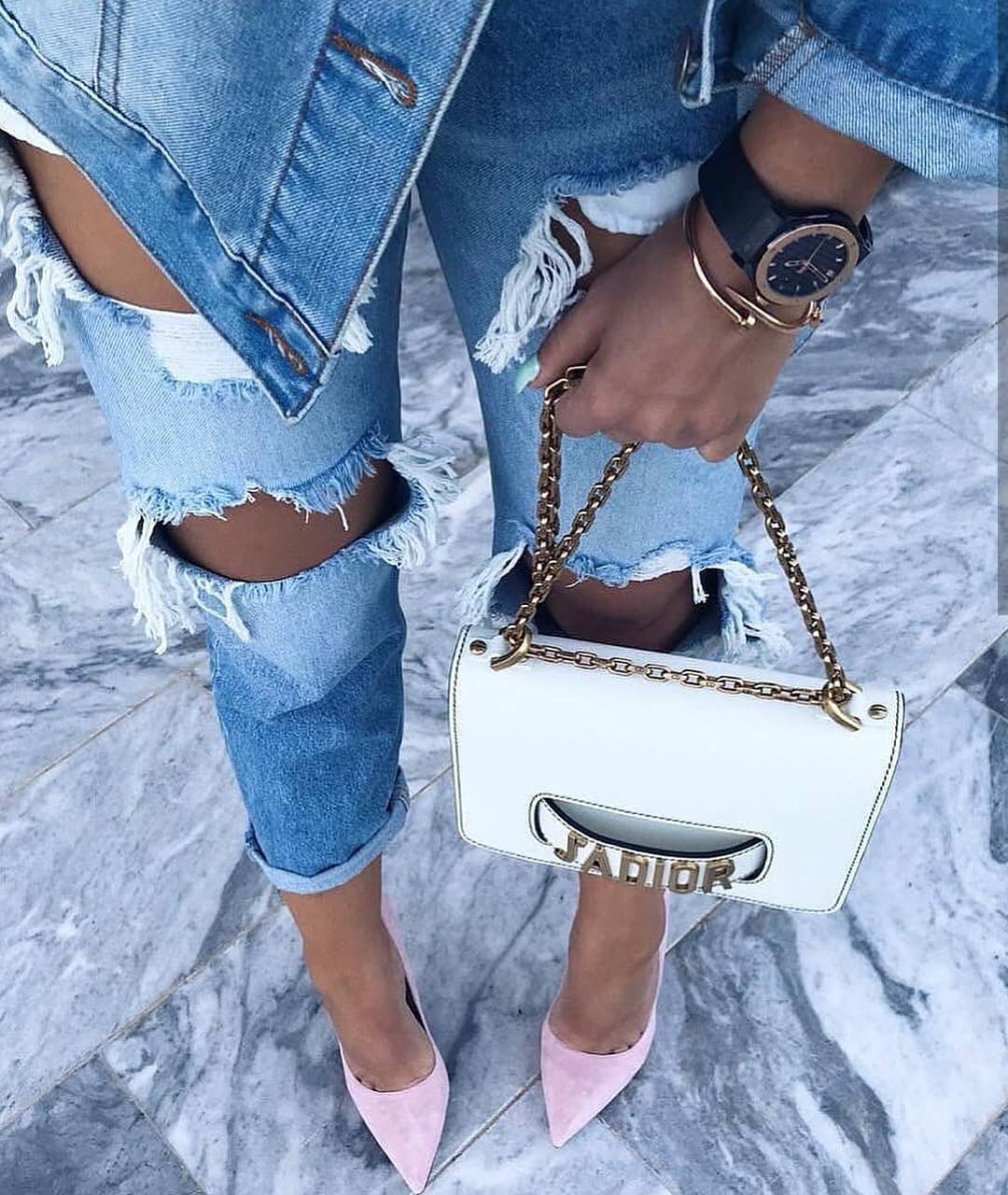 Double Denim Look With Blush Heels And White Clutch Bag For Summer 2021