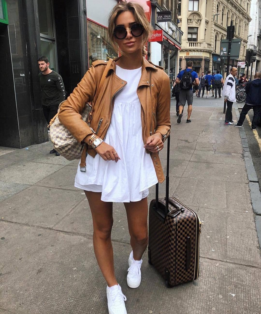 How To Wear Cream Brown Leather Jacket This Summer 2020