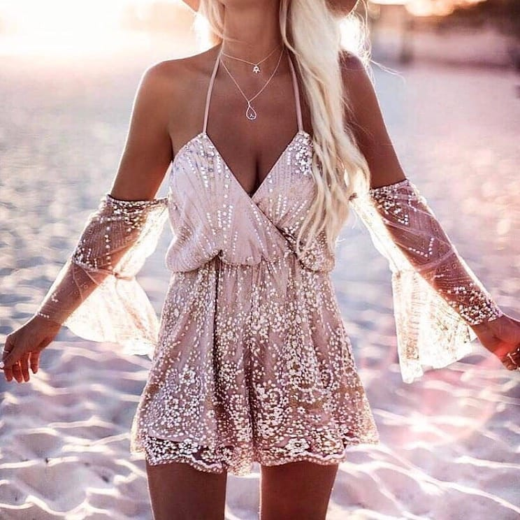 Boho Style Blush Dress In Sequins For Summer 2020