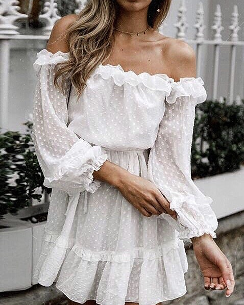 Semi-Sheer White Off-Shoulder Peasant Dress For Boho Lovers 2019