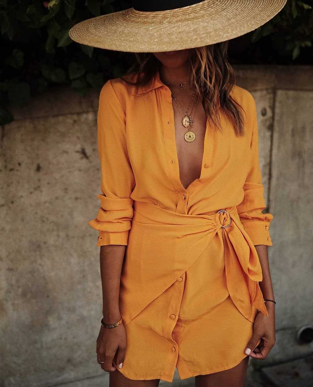 Orange Shirtdress With Wrap Detail For Summer Vacation 2019