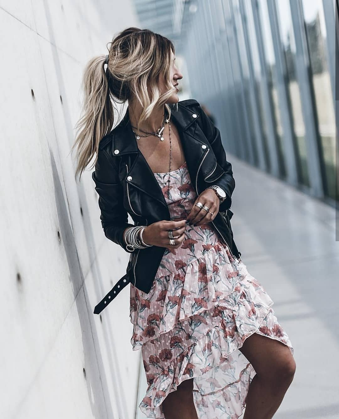 Can I Wear Black Leather Jacket With Lightweight Floral Dress 2019
