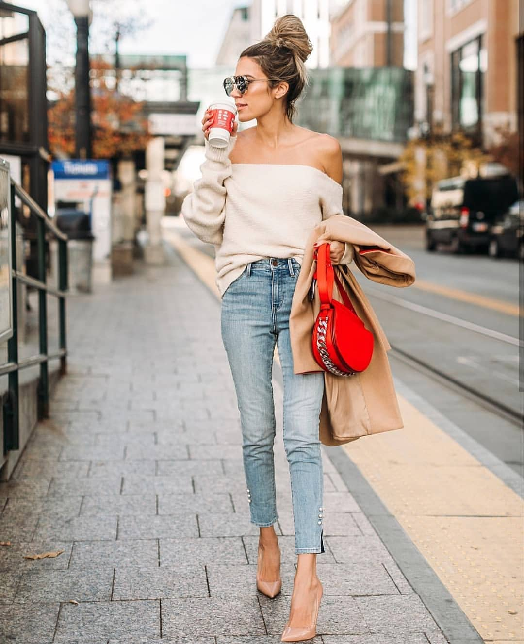 Off Shoulder Cream Sweater And Slim Jeans For Spring Street Walks 2020