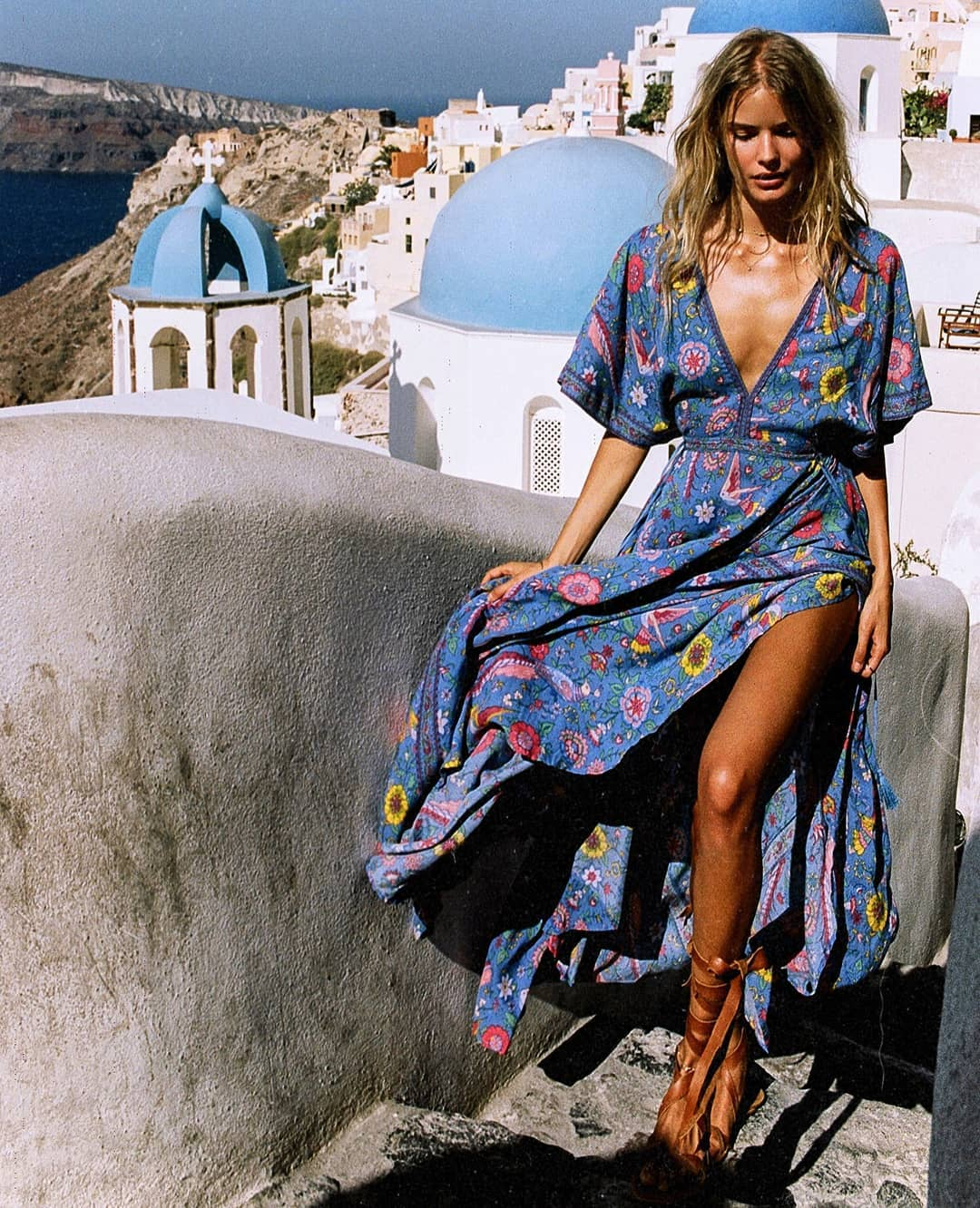 Blue Peasant Dress With Deep V-neck And Floral Print For Summer 2019