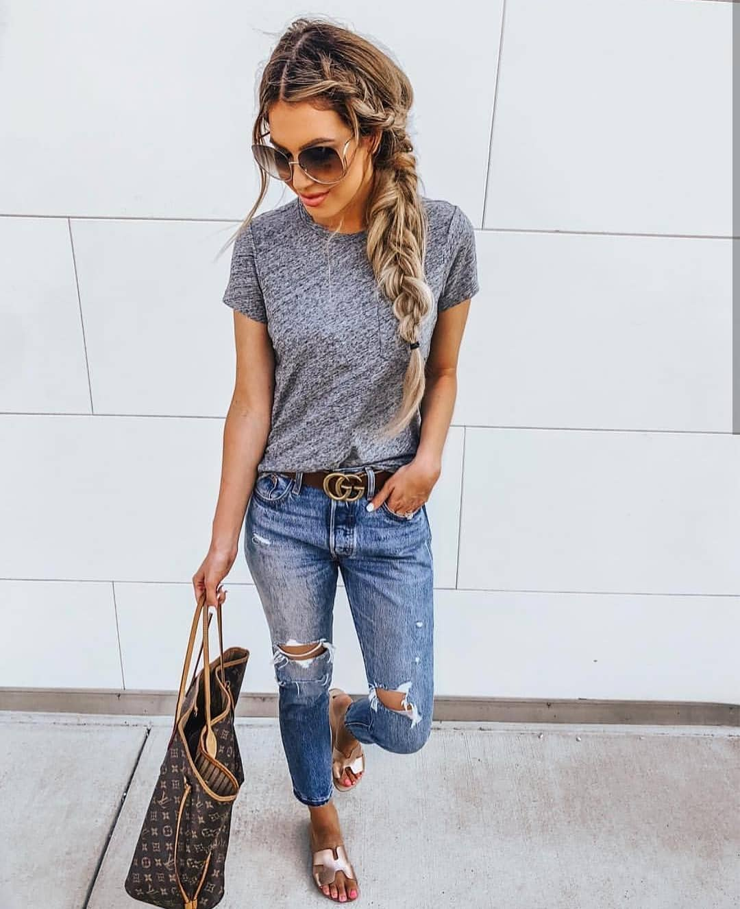 Summer Casual Basics: Grey T-Shirt, Ripped Jeans And Matte Bronze Sandals 2019