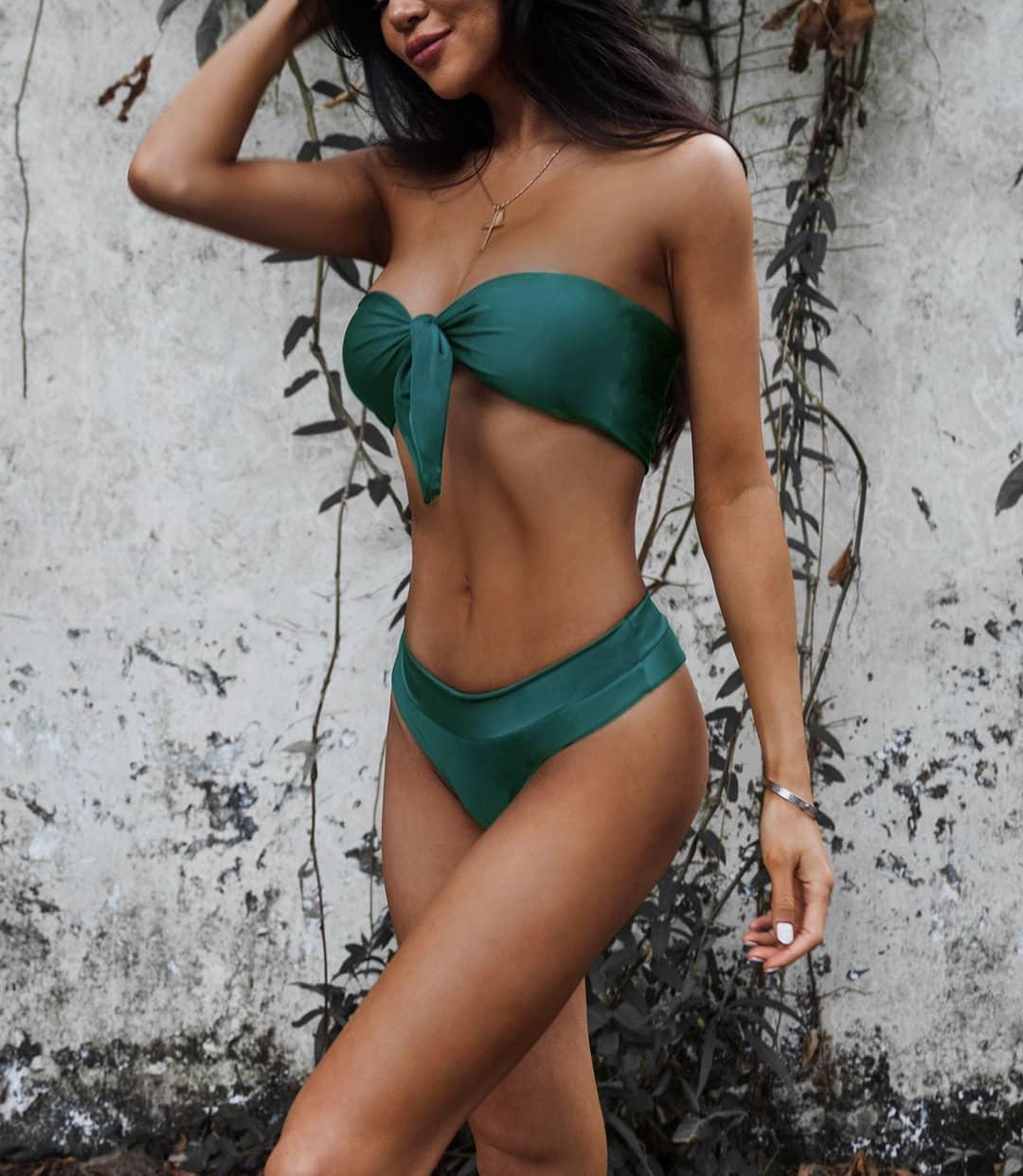 Emerald Green Bandeau Bikini Set For Summer 2019