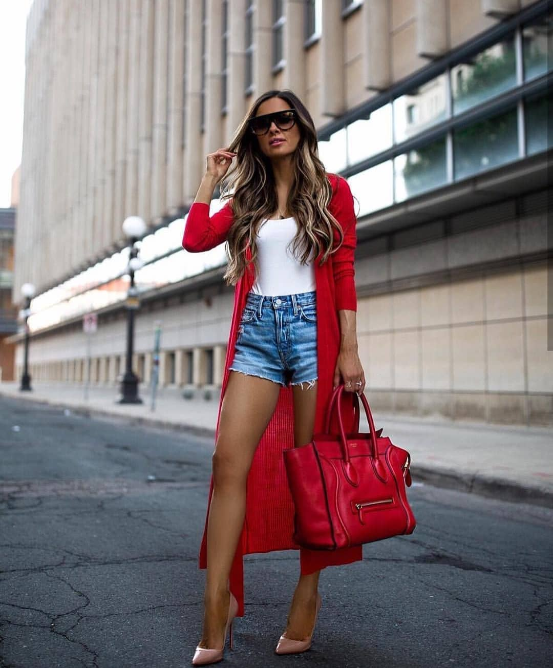 How To Wear Long Red Cardicoat With Denim Shorts And Nude Heels 2019