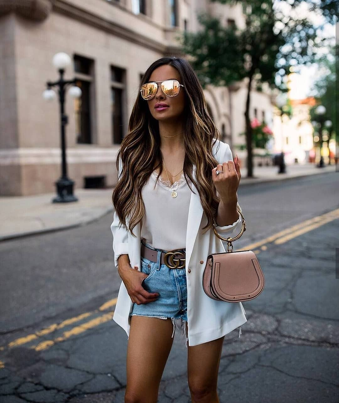 How To Wear White Tailored Blazer With Denim Shorts This Summer 2019