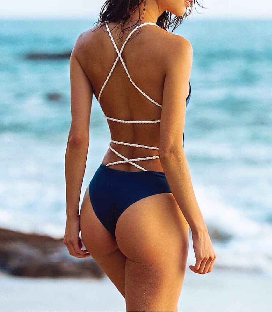 White Swimsuit With Open Back And White Straps For Vacation 2019