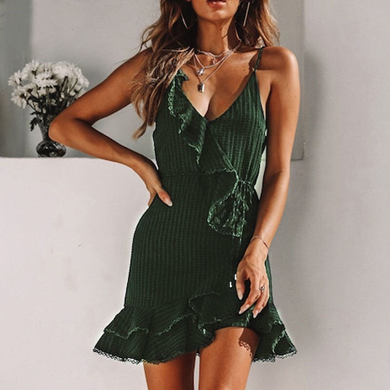 Ruffled Waffle Knit Dress In Green For Summer 2020